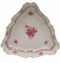 """Herend Chinese Bouquet Raspberry Triangle Dish  9.5""""L"""