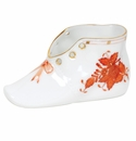 """Herend Chinese Bouquet Rust Baby Shoe  4.5""""L X 2.75""""H"""