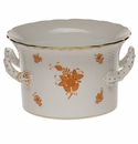 """Herend Chinese Bouquet Rust Cachepot With Handles  6.25""""H X 1"""