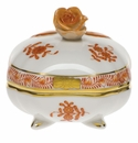"""Herend Chinese Bouquet Rust Covered Bonbon With Rose  3""""Sq"""