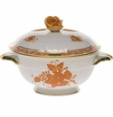 Herend Chinese Bouquet Rust Covered Bouillon Lid Only With Rose
