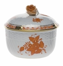 """Herend Chinese Bouquet Rust Covered Sugar With Rose  (10 Oz) 4""""H"""