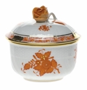 """Herend Chinese Bouquet Rust Covered Sugar With Rose  (4 Oz) 3.25"""""""