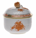 """Herend Chinese Bouquet Rust Covered Sugar With Rose  (6 Oz) 4""""H"""