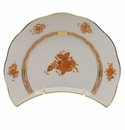 """Herend Chinese Bouquet Rust Crescent Salad  7.25""""L X 5""""W"""