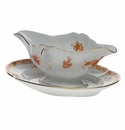 Herend Chinese Bouquet Rust Gravy Boat With Fixed Stand  0.75