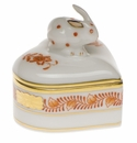 """Herend Chinese Bouquet Rust Heart Box With Bunny 2""""H"""