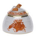 """Herend Chinese Bouquet Rust Honey Pot With Rose  2.5""""H"""