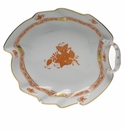 """Herend Chinese Bouquet Rust Leaf Dish  7.75""""L"""