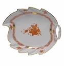 """Herend Chinese Bouquet Rust Leaf Dish  9.5""""L"""