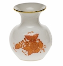 """Herend Chinese Bouquet Rust Medium Bud Vase With Lip 2.75""""H"""