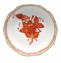 """Herend Chinese Bouquet Rust Mini Scalloped Dish 3.25""""L X 0"""