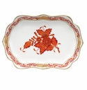 """Herend Chinese Bouquet Rust Mini Scalloped Tray 4.25""""L X 3"""