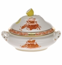 """Herend Chinese Bouquet Rust Mini Tureen 5""""L X 4""""H With Lemon"""