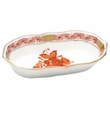 """Herend Chinese Bouquet Rust Narrow Pin Dish 5""""L X 1""""H"""