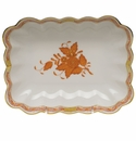 """Herend Chinese Bouquet Rust Oblong Dish  7.25""""L X 5.5""""W"""