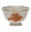 """Herend Chinese Bouquet Rust Open Sugar Bowl  3""""D 1.5""""H"""