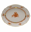 """Herend Chinese Bouquet Rust Oval Dish  8.25""""L X 6.75""""W"""