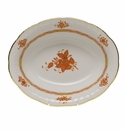 """Herend Chinese Bouquet Rust Oval Vegetable Dish  10""""L X 8""""W"""
