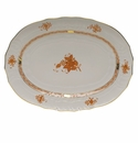 """Herend Chinese Bouquet Rust Platter  15""""L X 11.5""""W"""