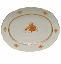 """Herend Chinese Bouquet Rust Platter  17""""L X 12.5""""W"""