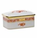 """Herend Chinese Bouquet Rust Rectangular Box 3""""L X 2""""W"""