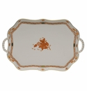 """Herend Chinese Bouquet Rust Rectangular Tray With Branch Handles  18"""""""