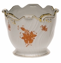 """Herend Chinese Bouquet Rust Ribbed Cachepot  6.25""""H X 7""""D"""