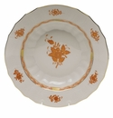 """Herend Chinese Bouquet Rust Rim Soup  9.5""""D"""