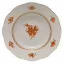 """Herend Chinese Bouquet Rust Rim Soup Plate  8""""D"""