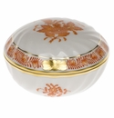 """Herend Chinese Bouquet Rust Ring Box  2.75""""D"""