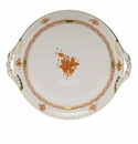 """Herend Chinese Bouquet Rust Round Tray With Handles  11.25""""D"""