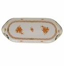 """Herend Chinese Bouquet Rust Sandwich Tray  14.5""""L X 6""""W"""