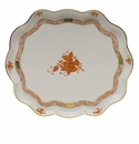 """Herend Chinese Bouquet Rust Scallop Tray  11.25""""L X 9.5""""W"""