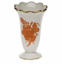 """Herend Chinese Bouquet Rust Scalloped Bud Vase  2.5""""H"""