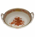 """Herend Chinese Bouquet Rust Small Basket With Handles 2.75""""L"""