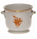 """Herend Chinese Bouquet Rust Small Cachepot 5.75""""H X 6.5""""D"""