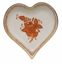 """Herend Chinese Bouquet Rust Small Heart Tray  4""""L X 4""""W"""