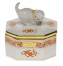 """Herend Chinese Bouquet Rust Small Octagonal Box - Cat 2.5"""""""