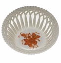"""Herend Chinese Bouquet Rust Small Openwork Basket 3.75""""D -"""