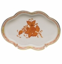 """Herend Chinese Bouquet Rust Small Scalloped Tray  5.5""""L"""