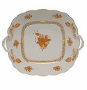 Herend Chinese Bouquet Rust Square Cake Plate With Handles  9