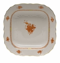 """Herend Chinese Bouquet Rust Square Fruit Dish  11""""Sq"""