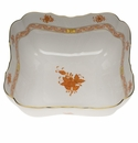 """Herend Chinese Bouquet Rust Square Salad Bowl  10""""Sq"""