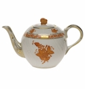 """Herend Chinese Bouquet Rust Tea Pot With Butterfly (12 Oz) 4"""""""
