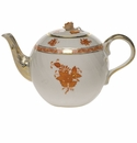 """Herend Chinese Bouquet Rust Tea Pot With Rose  (36 Oz) 5.5""""H"""