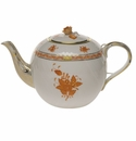 """Herend Chinese Bouquet Rust Tea Pot With Rose  (60 Oz) 6.5""""H"""