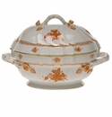 """Herend Chinese Bouquet Rust Tureen With Branch  (2 Qt) 9.5""""H"""