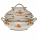 """Herend Chinese Bouquet Rust Tureen With Branch  (4 Qt) 10""""H"""