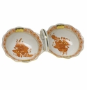 """Herend Chinese Bouquet Rust Twin Salt  5.5""""L"""